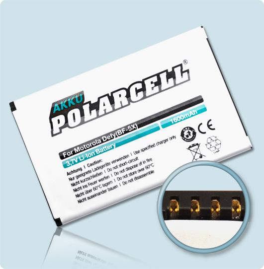 PolarCell® Hochleistungsakku für Motorola Bravo MB525, ersetzt Originalakku BF5X