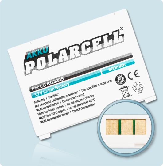 PolarCell® Hochleistungsakku für LG KG320s, ersetzt Originalakku LGIP-600