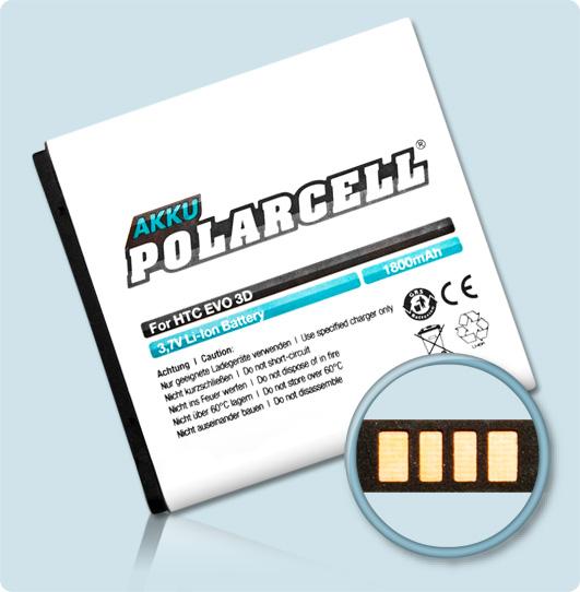 PolarCell® Hochleistungsakku für HTC X515m, ersetzt Originalakku BA S560 - BG58100 -  BG86100