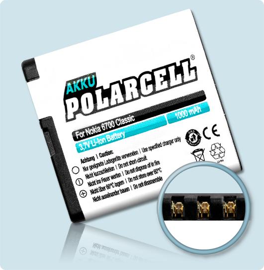 PolarCell® Hochleistungsakku für Nokia 6700 classic, ersetzt Originalakku BL-6Q