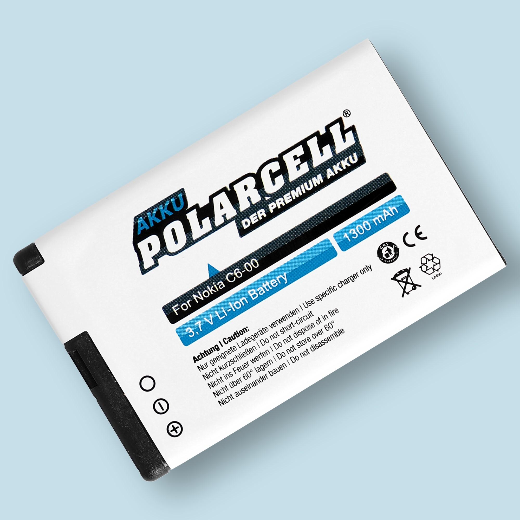 PolarCell® Hochleistungsakku für Nokia C6-00, ersetzt Originalakku BL-4J