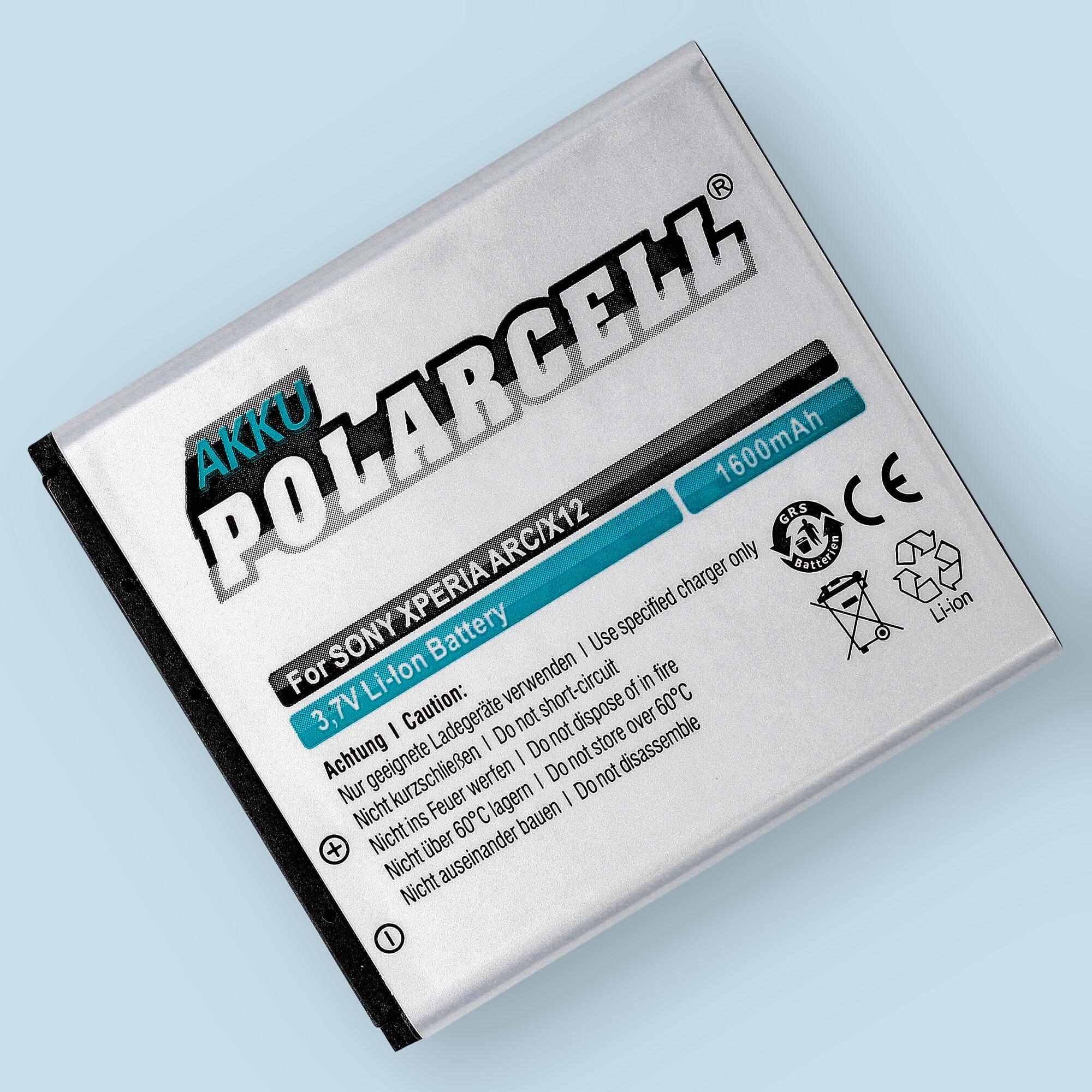 PolarCell® Hochleistungsakku für Sony-Ericsson Xperia Arc, ersetzt Originalakku BA750