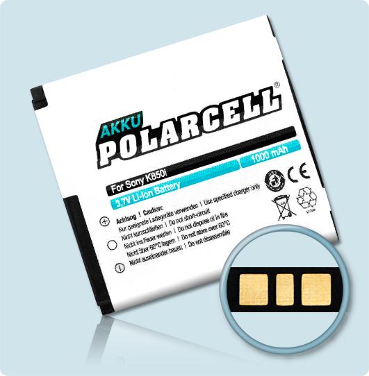 PolarCell® Hochleistungsakku für Sony-Ericsson W580i, ersetzt Originalakku BST-38