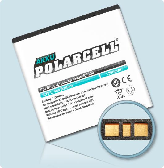 PolarCell® Hochleistungsakku für Sony-Ericsson Xperia mini, ersetzt Originalakku  EP500