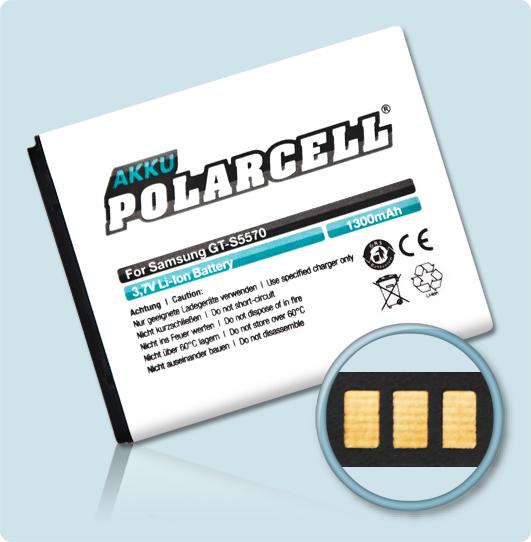 PolarCell® Hochleistungsakku für Samsung S5310, ersetzt Originalakku  EB494353VU