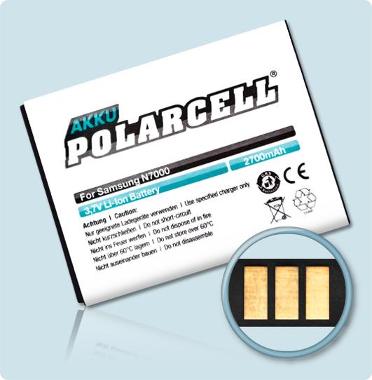 PolarCell® Hochleistungsakku für Samsung Galaxy Note 1 GT-N7000, ersetzt Originalakku EB615268VU