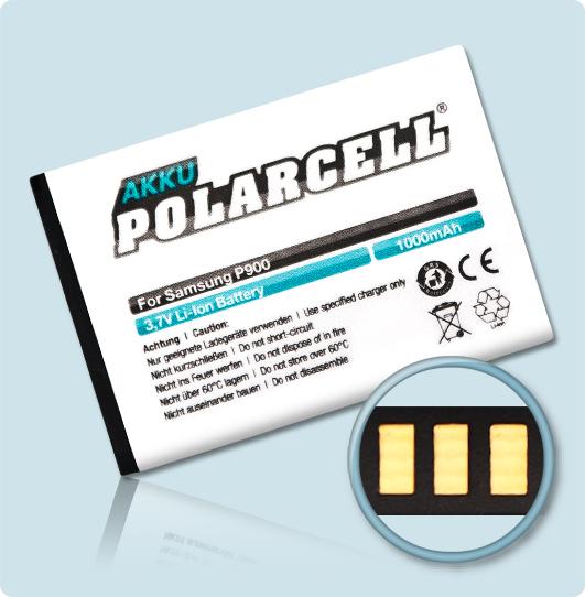PolarCell® Hochleistungsakku für Samsung E2120B, ersetzt Originalakku AB553446BE - BU