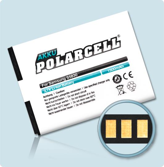 PolarCell® Hochleistungsakku für Samsung Galaxy Fit S5670, ersetzt Originalakku  EB494358VU
