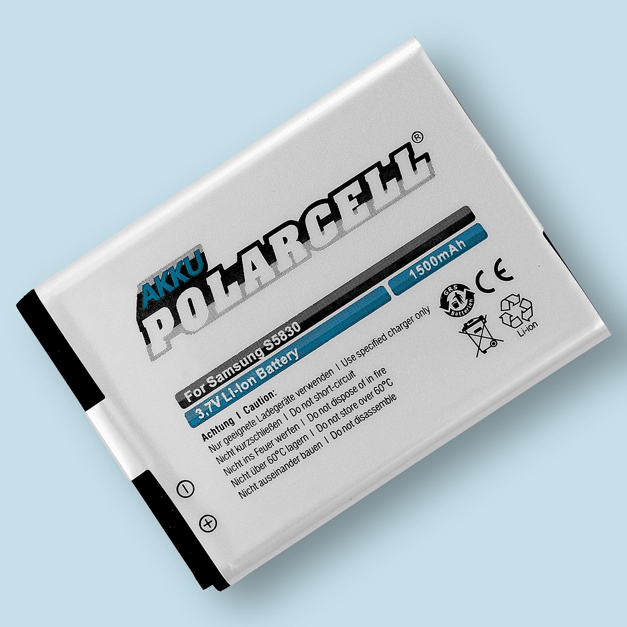 PolarCell® Hochleistungsakku für Samsung Galaxy Ace DuoS S6802, ersetzt Originalakku  EB494358VU