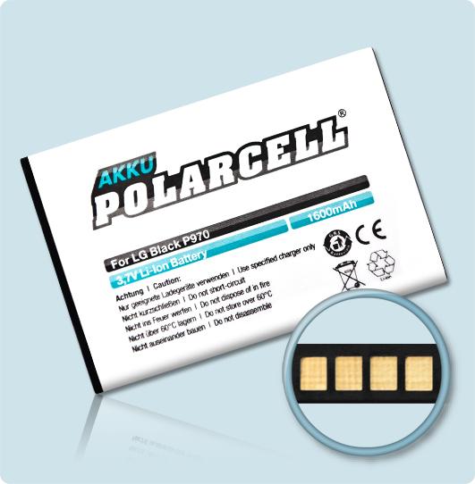PolarCell® Hochleistungsakku für LG P970, ersetzt Originalakku BL-44JN
