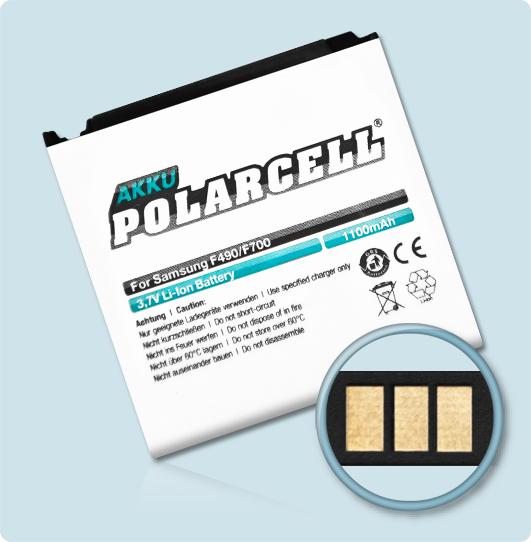 PolarCell® Hochleistungsakku für Samsung SGH-F490, ersetzt Originalakku AB563840CE - CU