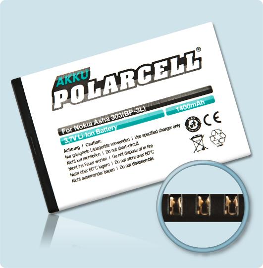 PolarCell® Hochleistungsakku für Nokia 603, ersetzt Originalakku BP-3L