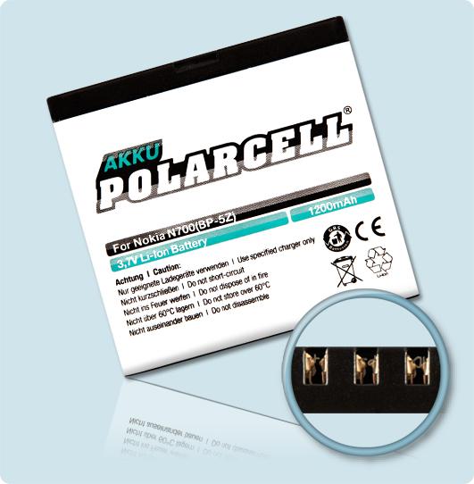 PolarCell® Hochleistungsakku für Nokia 700, ersetzt Originalakku BP-5Z
