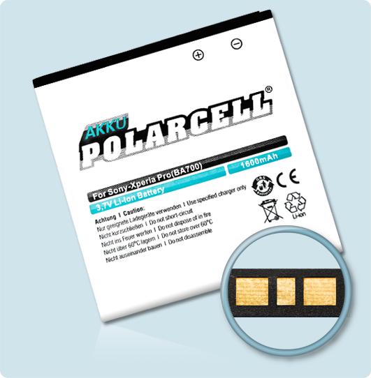 PolarCell® Hochleistungsakku für Sony-Ericsson Xperia Pro, ersetzt Originalakku BA700