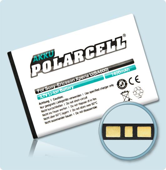 PolarCell® Hochleistungsakku für Sony-Ericsson Xperia U, ersetzt Originalakku BA600