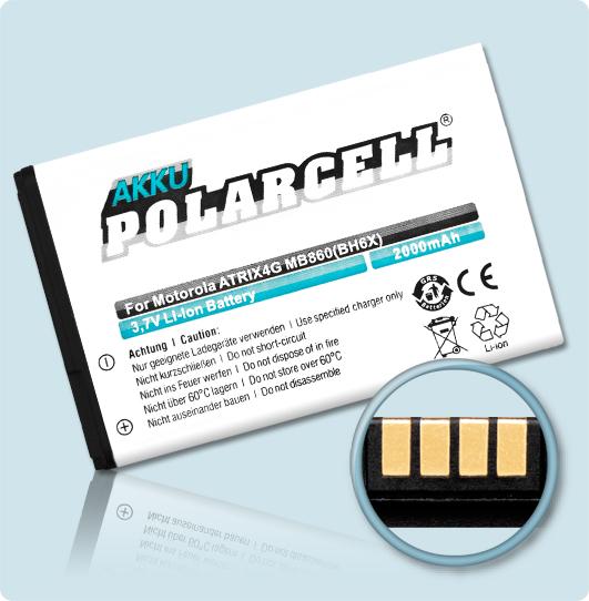 PolarCell® Hochleistungsakku für Motorola ATRIX 4G MB860, ersetzt Originalakku BH6X - SNN5893A