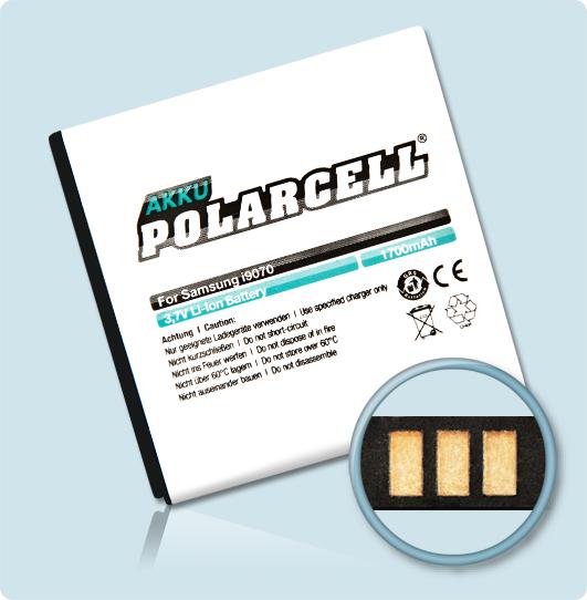 PolarCell® Hochleistungsakku für Samsung Galaxy S Advance GT-i9070 - GT-i9070P, ersetzt Originalakku  EB535151VU