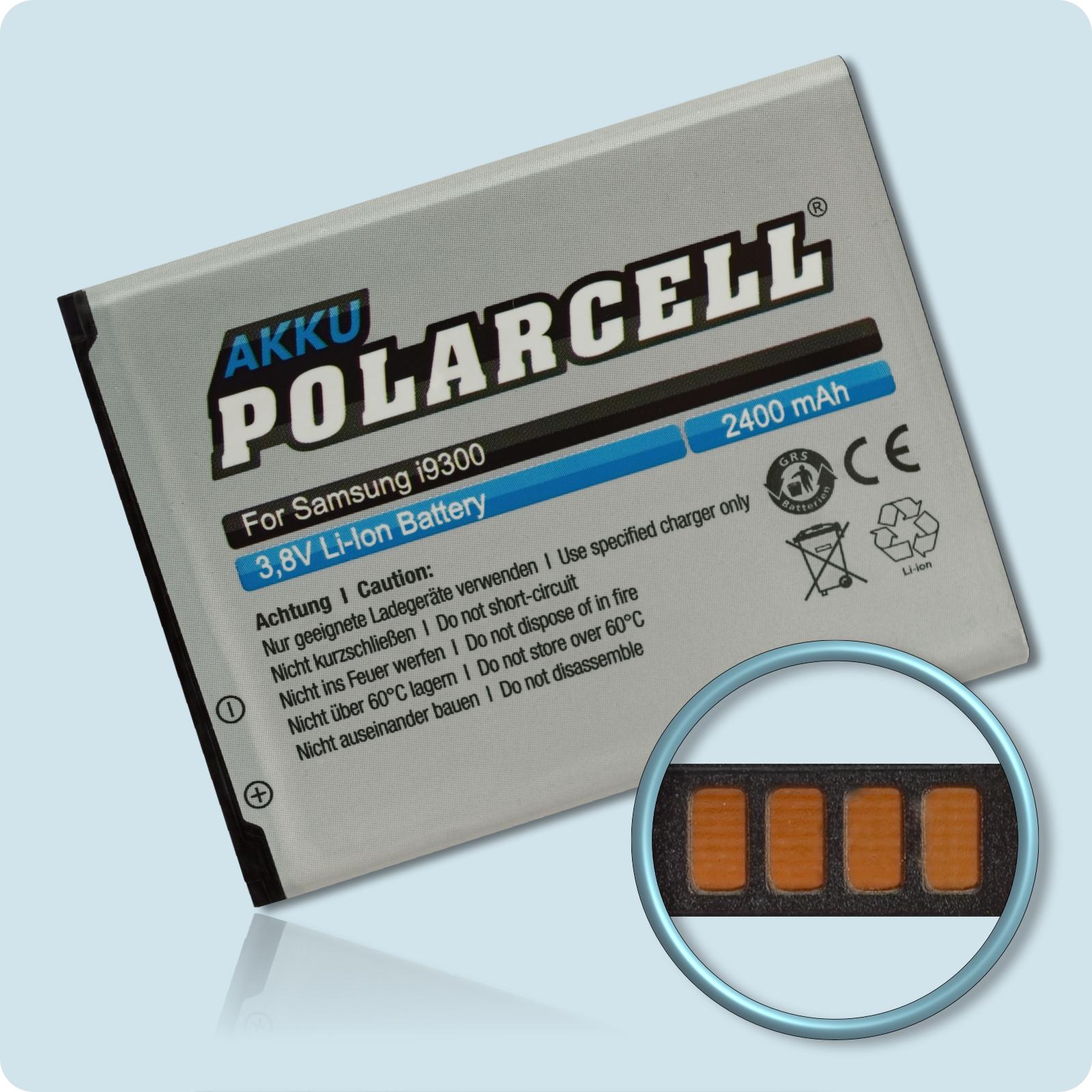 PolarCell® Hochleistungsakku für Samsung Galaxy S3 GT-i9300, ersetzt Originalakku EB-L1G6LLU