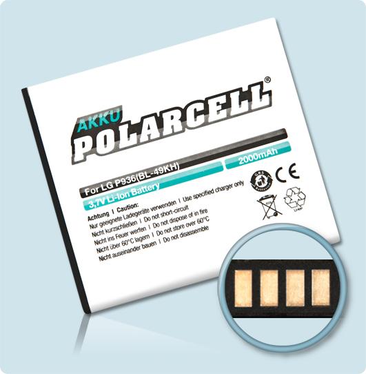 PolarCell® Hochleistungsakku für LG P936, ersetzt Originalakku BL-49KH
