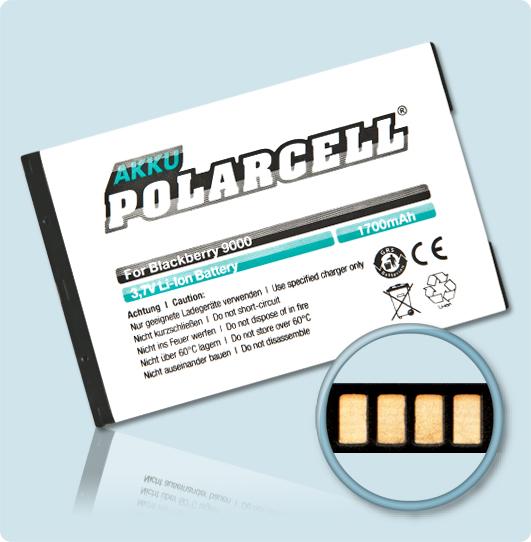 PolarCell® Hochleistungsakku für Blackberry Bold 9700, ersetzt Originalakku M-S1