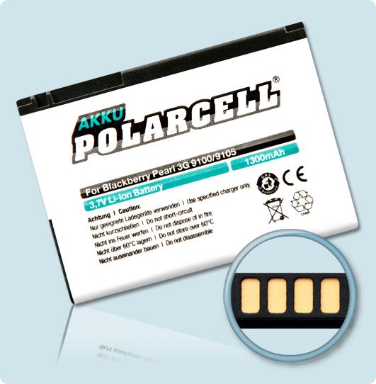 PolarCell® Hochleistungsakku für Blackberry Pearl 3G 9105, ersetzt Originalakku F-M1