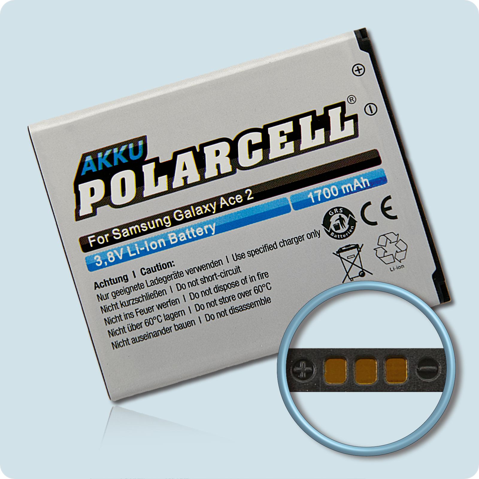 PolarCell® Hochleistungsakku für Samsung Galaxy S DuoS 2 S7582, ersetzt Originalakku  EB425161LU