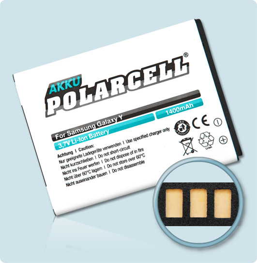 PolarCell® Hochleistungsakku für Samsung B5510, ersetzt Originalakku EB454357VU