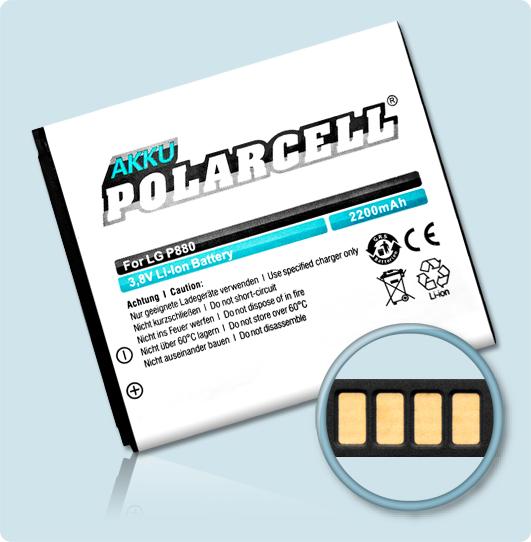 PolarCell® Hochleistungsakku für LG P875, ersetzt Originalakku BL-53QH