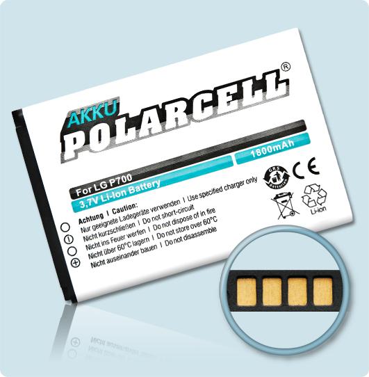 PolarCell® Hochleistungsakku für LG P700, ersetzt Originalakku BL-44JH