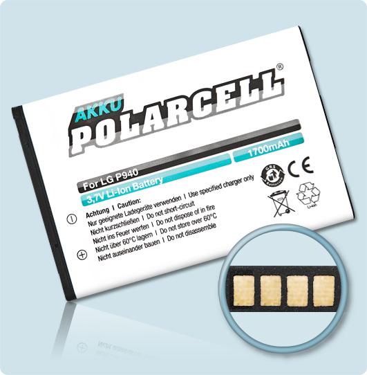 PolarCell® Hochleistungsakku für LG L40, ersetzt Originalakku BL-44JR