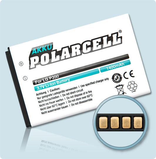 PolarCell® Hochleistungsakku für LG C550, ersetzt Originalakku BL-42FN