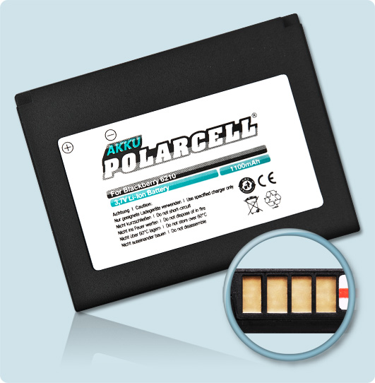 PolarCell® Hochleistungsakku für Blackberry 6230, ersetzt Originalakku BAT-03087-00x