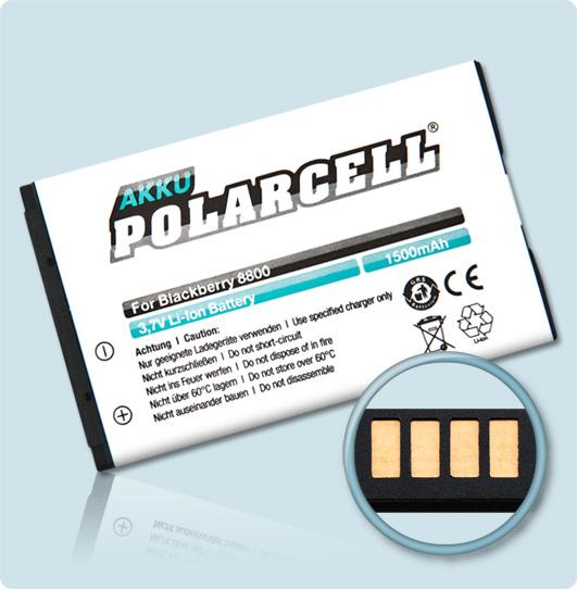 PolarCell® Hochleistungsakku für Blackberry 8800, ersetzt Originalakku C-X2