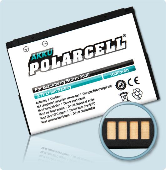 PolarCell® Hochleistungsakku für Blackberry Bold 9650, ersetzt Originalakku D-X1