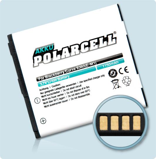 PolarCell® Hochleistungsakku für Blackberry Curve 9370, ersetzt Originalakku E-M1