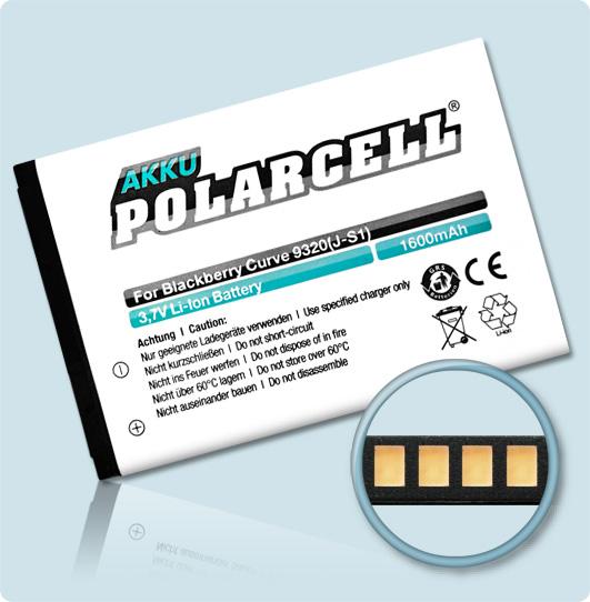 PolarCell® Hochleistungsakku für Blackberry Curve 9320, ersetzt Originalakku J-S1