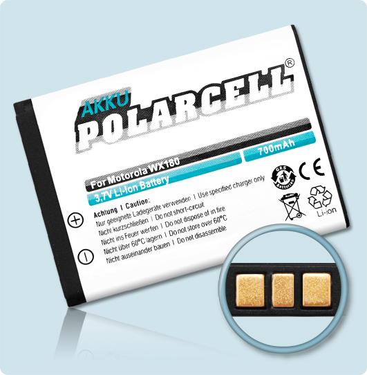 PolarCell® Hochleistungsakku für Motorola WX280, ersetzt Originalakku OM4A