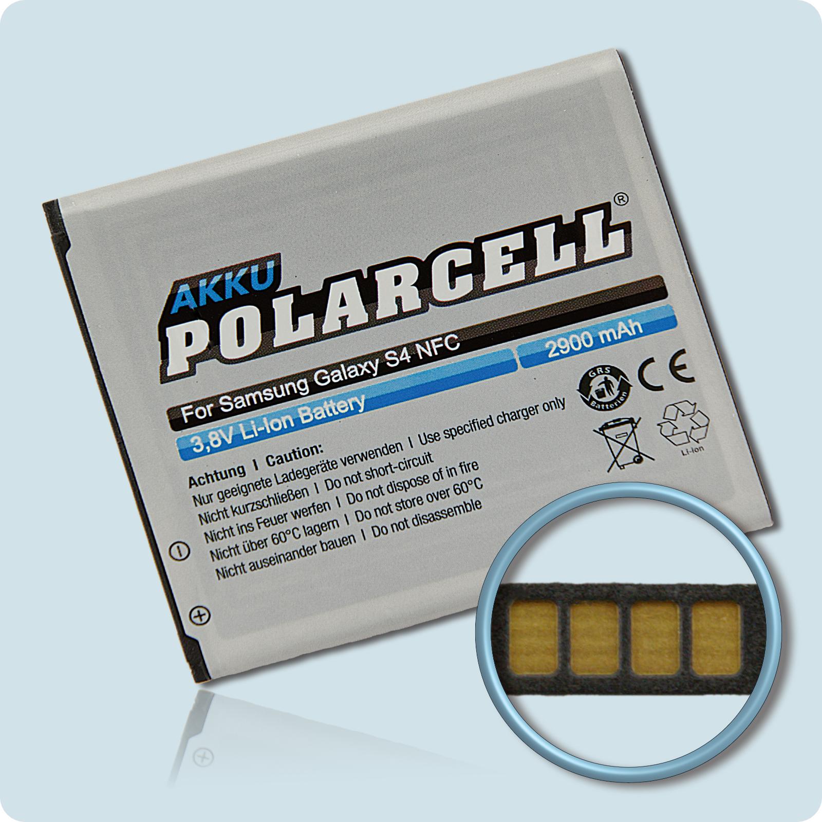 PolarCell® Hochleistungsakku für Samsung Galaxy S4 Active GT-i9295 mit NFC-Antenne, ersetzt Originalakku  EB-B600BE - BU - BC