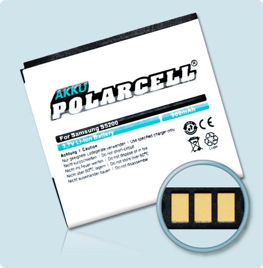 PolarCell® Hochleistungsakku für Samsung S5200, ersetzt Originalakku EB504239HU