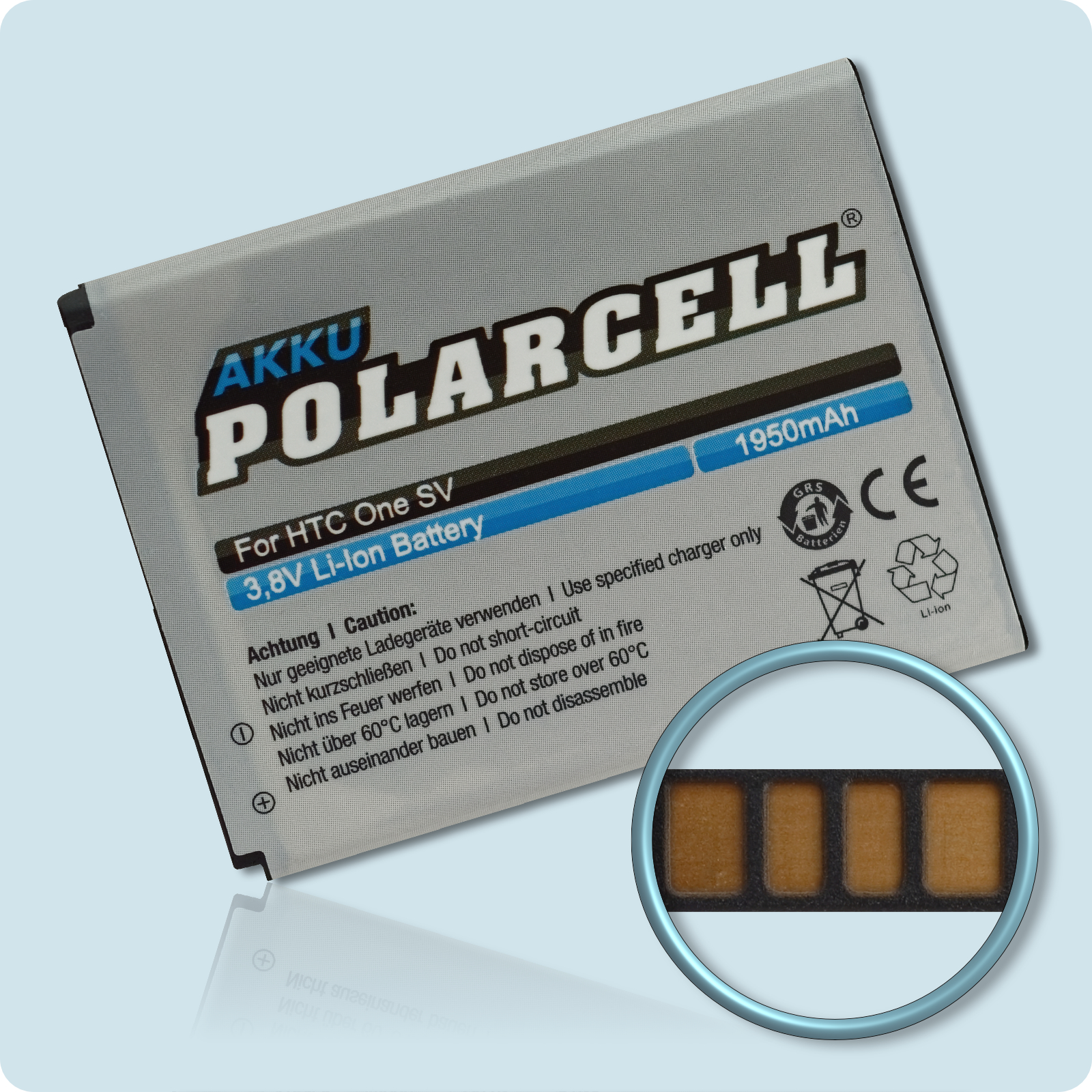PolarCell® Hochleistungsakku für HTC One SV, ersetzt Originalakku BA-S890