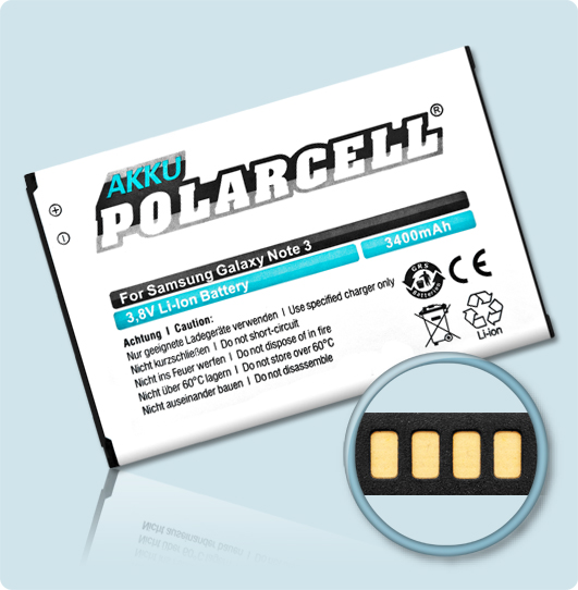 PolarCell® Hochleistungsakku für Samsung Galaxy Note 3 GT-N9000, ersetzt Originalakku EB-B800BE
