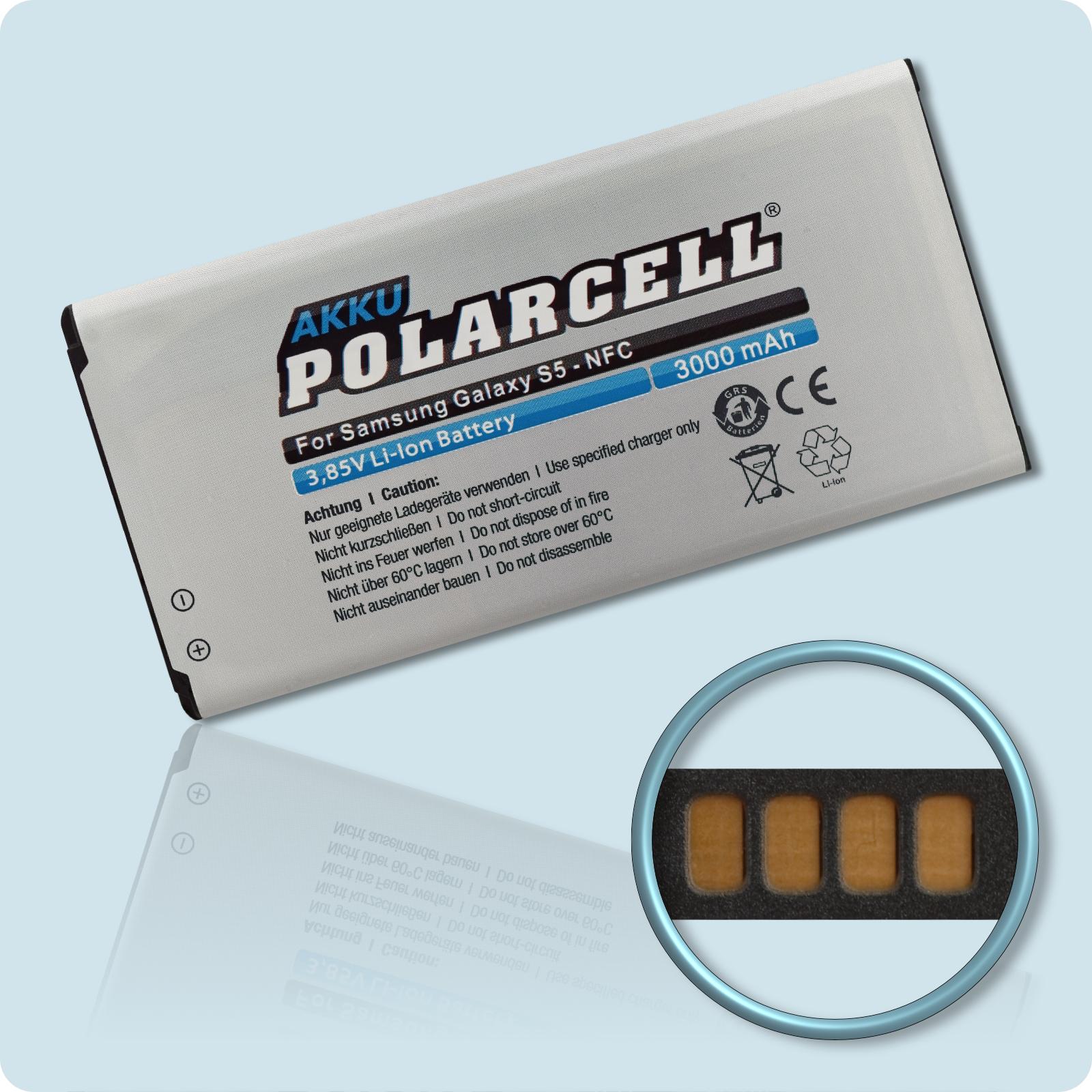 PolarCell® Hochleistungsakku für Samsung GT-i9600 mit NFC-Antenne, ersetzt Originalakku EB-BG900BBC