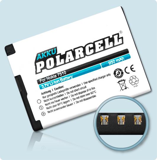 PolarCell® Hochleistungsakku für Nokia 2610 classic, ersetzt Originalakku BL-5BT