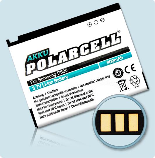 PolarCell® Hochleistungsakku für Samsung SGH-D800, ersetzt Originalakku BST5268BE