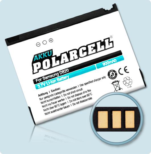 PolarCell® Hochleistungsakku für Samsung P300, ersetzt Originalakku BST4048BE