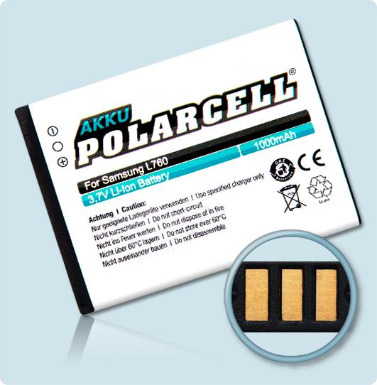 PolarCell® Hochleistungsakku für Samsung SGH-L760, ersetzt Originalakku AB553443DE - DU