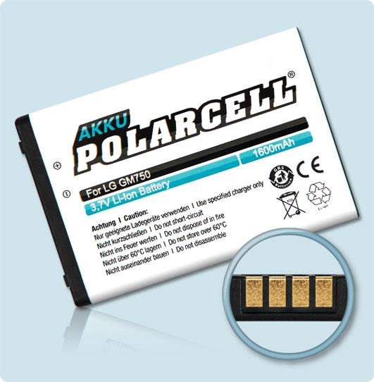 PolarCell® Hochleistungsakku für LG GM750, ersetzt Originalakku LGIP-400N