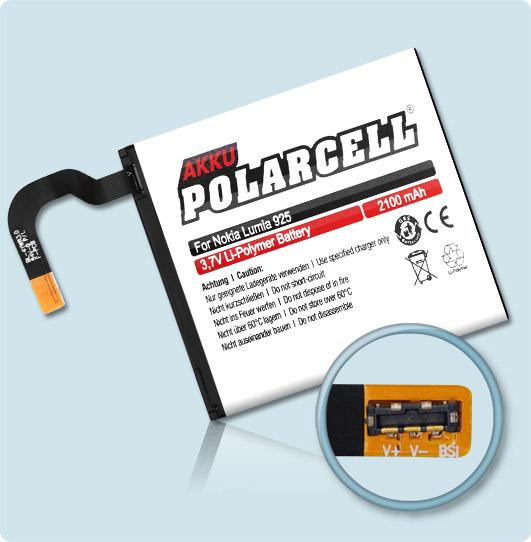 PolarCell® Hochleistungsakku für Nokia Lumia 925, ersetzt Originalakku BL-4YW