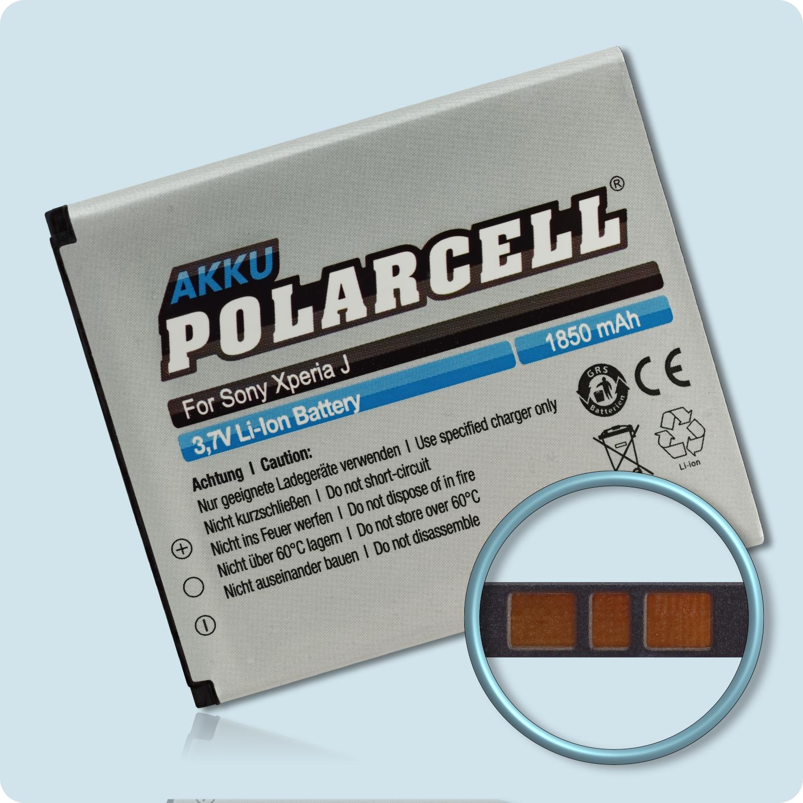 PolarCell® Hochleistungsakku für Sony Xperia J, ersetzt Originalakku BA900