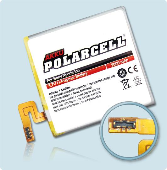 PolarCell® Hochleistungsakku für Sony Xperia Ion, ersetzt Originalakku LIS1485ERPC